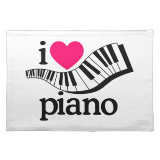 I Love Piano/Keyboard Cloth Placemat