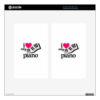 I Love Piano/Keyboard Decals For Kindle Fire