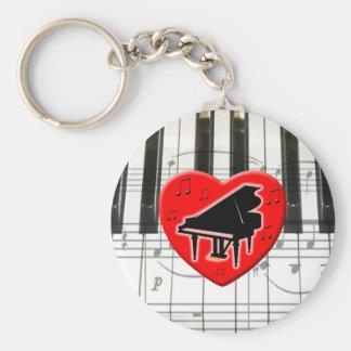 I Love Piano Keychains