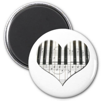 I Love Piano or Organ Music Heart Keyboard 2 Inch Round Magnet