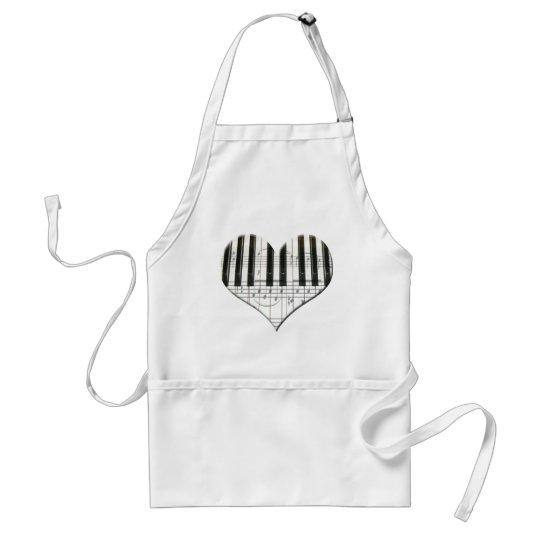 I Love Piano or Organ Music Heart Keyboard Adult Apron