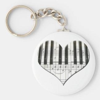 I Love Piano or Organ Music Heart Keyboard Basic Round Button Keychain