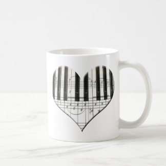 I Love Piano or Organ Music Heart Keyboard Coffee Mug