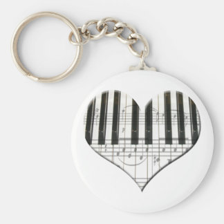 I Love Piano or Organ Music Heart Keyboard Keychain