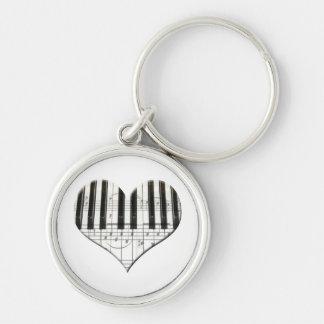 I Love Piano or Organ Music Heart Keyboard Keychain