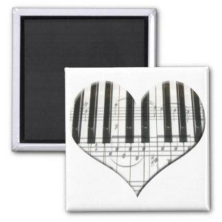 I Love Piano or Organ Music Heart Keyboard Magnet