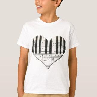 I Love Piano or Organ Music Heart Keyboard T-Shirt