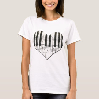I Love Piano or Organ Music Heart Keyboard T-Shirt