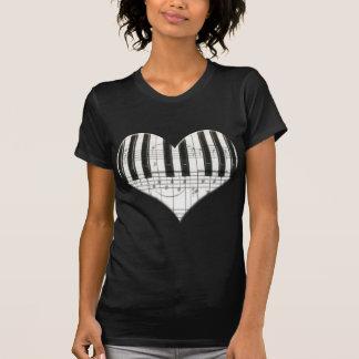 I Love Piano or Organ Music Heart Keyboard Tee Shirt