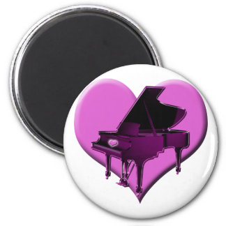 I Love Piano Pink Heart 2 Inch Round Magnet