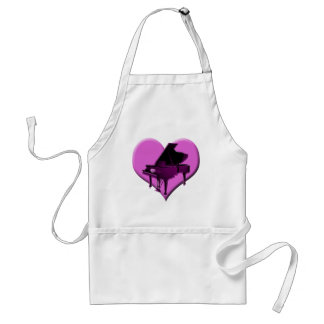 I Love Piano Pink Heart Adult Apron