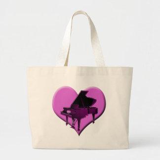 I Love Piano Pink Heart Tote Bag
