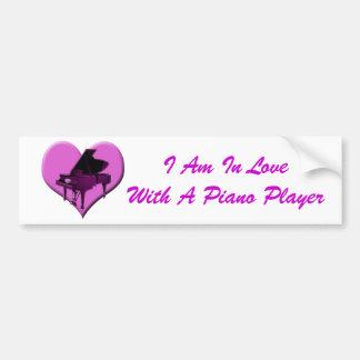 I Love Piano Pink Heart Bumper Sticker
