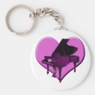 I Love Piano Pink Heart Keychain