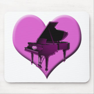 I Love Piano Pink Heart Mouse Pad