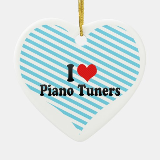 I Love Piano Tuners Double-Sided Heart Ceramic Christmas Ornament