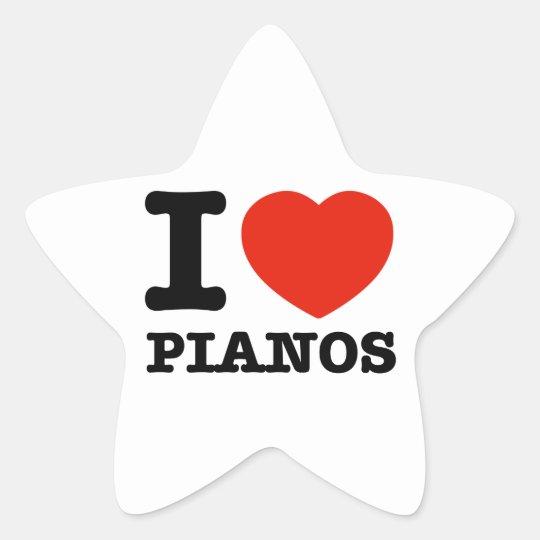 I love Pianos Star Sticker