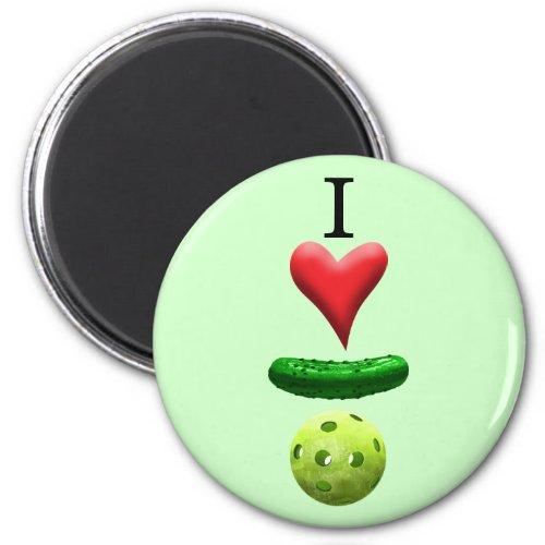 I Love Pickleball _ Green _ Magnet