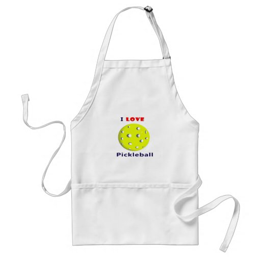 i love pickleball red text pickleball graphic.png apron