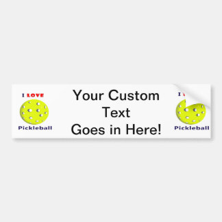 i love pickleball red text pickleball graphic.png bumper sticker