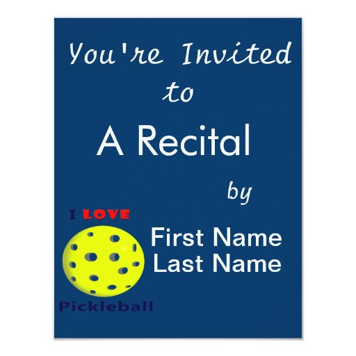 i love pickleball red text pickleball graphic.png 4.25x5.5 paper invitation card