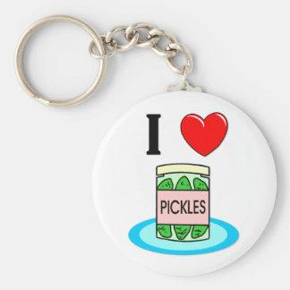 I Love Pickles Basic Round Button Keychain