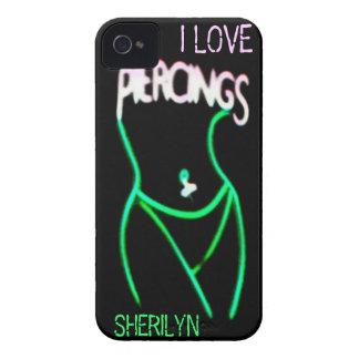 I LOVE PIERCINGS Green Neon Lady iPhone 4 Case