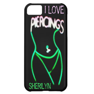 I LOVE PIERCINGS Green Neon Lady iPhone 5 Case