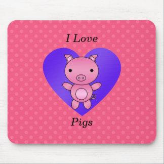 I love pig pink polka dots mouse pad