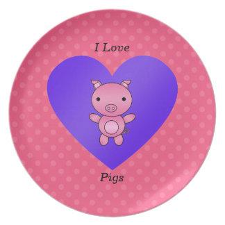 I love pig pink polka dots plates
