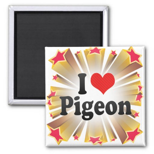 I Love Pigeon 2 Inch Square Magnet