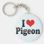 I Love Pigeon Keychain