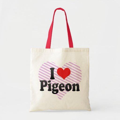 I Love Pigeon Tote Bags