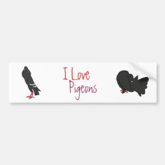 I Love Pigeons Bumper Sticker