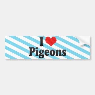 I Love Pigeons Car Bumper Sticker