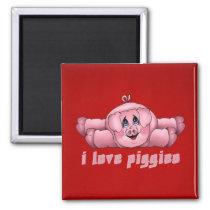I Love Piggies Magnet