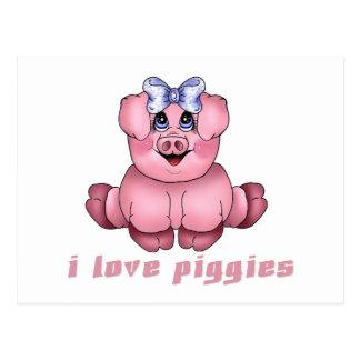 I Love Piggies Postcard