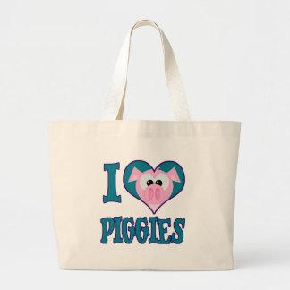 I Love piggies Tote Bags