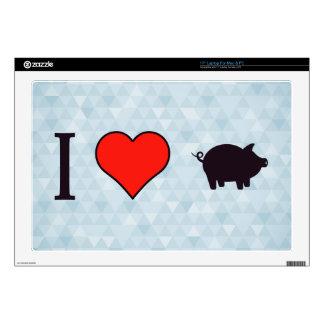 "I Love Pigs 17"" Laptop Skin"