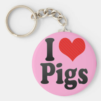 I Love Pigs Basic Round Button Keychain