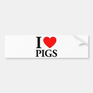 I Love Pigs Bumper Stickers