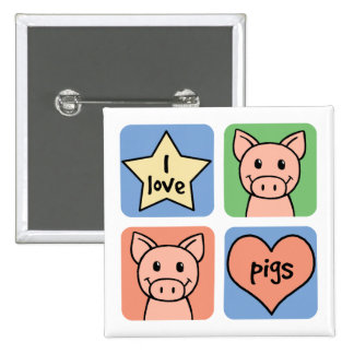 I Love Pigs Buttons