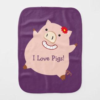 I Love Pigs (customizable pretty pig) Burp Cloth