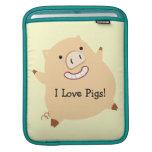 I Love Pigs (customized) Sleeve For iPads