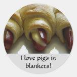 I love pigs in blankets! round sticker