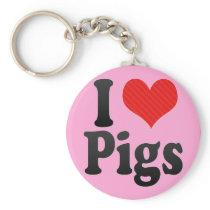 I Love Pigs Keychain