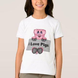 I Love Pigs Kids Shirt