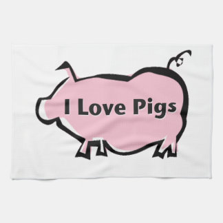 I Love Pigs Kitchen Towels