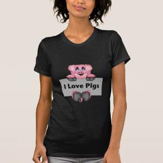 I Love Pigs Ladies Dark Basic T-Shirt
