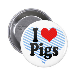 I Love Pigs Pinback Button